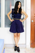 blue thrifted dress - black gmarket shoes - gold departmental store belt - white