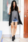 Gray-thrifted-cardigan-gray-cotton-on-top-blue-gmarket-shorts-black-gmarke