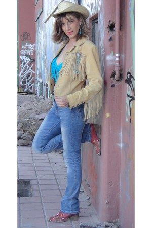 leather fringe Scully jacket - red cowboy boots - swimwear