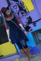 hat - Minnetonka boots - Hay Diseño dress - purse