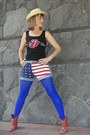 Shirt-shirt-red-embroidered-boots-hat-royal-blue-leggings-shorts