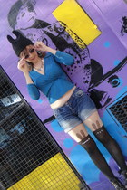 black bunny ear romwe hat - black combat boots - teal shirt - black romwe tights