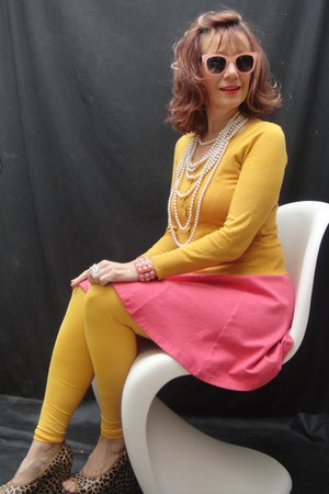 coral dress - We Love Colors tights - mustard H&M cardigan