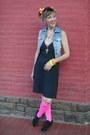 Dress-jacket-stockings-earrings-bracelet-accessories