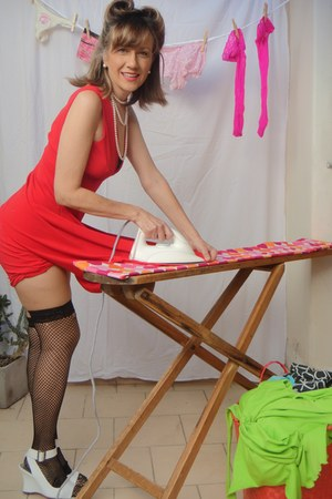 red dress - black fishnet stockings - white wedges