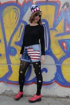 diy tights - red platforms Las Alba shoes - romwe old glory hat - shorts