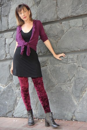 purple cardigan - boots - black no name dress - leggings - hair accessory