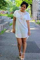 white silk high-low H&M dress - white ankle strap Zara heels
