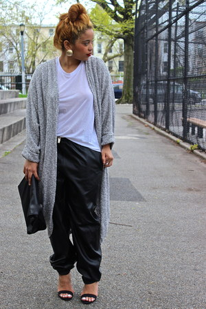 black leather Frontrowshop pants - white white shirt