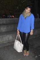blue lapis blouse - black Topshop leggings - beige Louis Vuitton bag