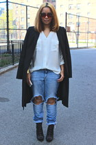 sky blue distressed H&M jeans - black Aldo boots - black long BCBG coat