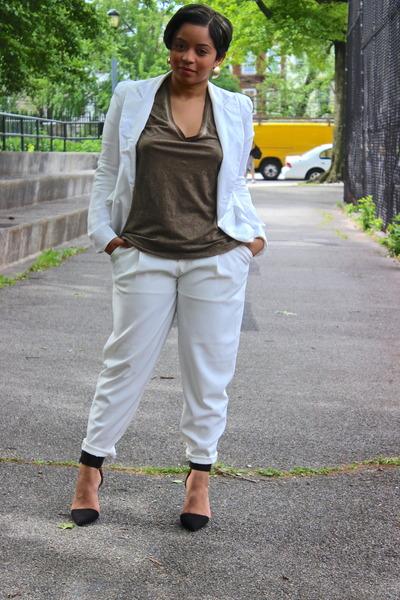 White Forever 21 Blazer Olive Green V Neck T Shirt