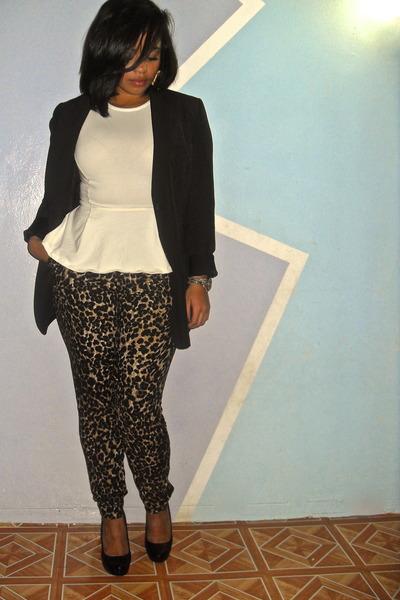 ivory peplum Topshop shirt - bronze leopard print Forever 21 pants