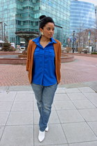 white H&M wedges - bronze Forever 21 blazer - blue necessary clothing blouse