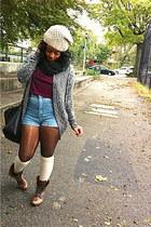 dark brown vintage Steve Madden boots - beige warm Forever 21 hat
