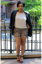 vintage blazer - floral American Apparel shorts - silk Forever21 blouse