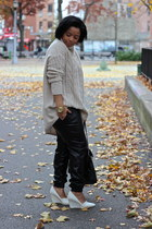 beige turtleneck H&M Trend sweater - black leather pants cichic pants