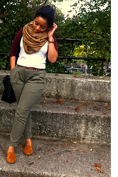 light brown H&amp;M scarf - crimson American Apparel shirt - black Zara bag