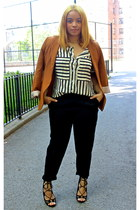 black Forever 21 pants - tawny Forever 21 blazer - white striped vjstyle blouse