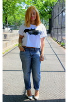 white crop top Forever 21 shirt - blue boyfriend jeans Gap jeans