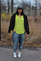 black asoscom hat - lime green Forever 21 blouse - white shoemint heels