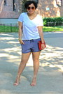 Blue-silk-forever21-shorts-white-v-neck-forever21-shirt-nude-zara-sandals