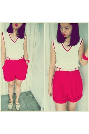 white shoes - red expression shorts - white Dotti top