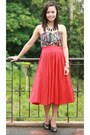 Black-cotton-on-dress-ruby-red-skirt-black-nine-west-heels