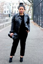 black leather jacket Zara jacket - black cropped Forever 21 sweater