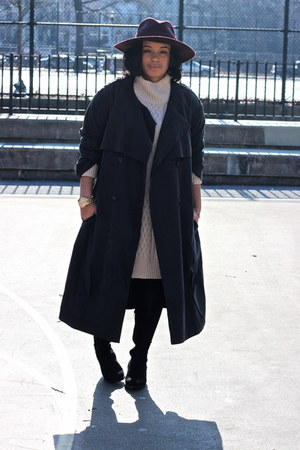 dark gray trench coat H&M Trend coat - black Aldo boots