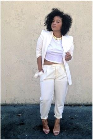 white VJ Style blazer - white crop top asos shirt - white Front Row Shop pants