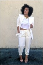 white VJ Style blazer - white crop top asos shirt - white Front Row Shop pants