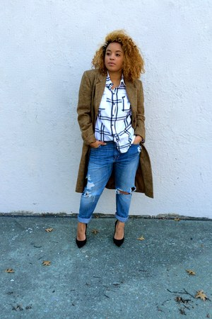 camel vintage coat - light blue hm jeans - black Zara heels - white lulus top