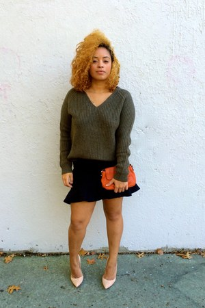 black Zara skirt - army green knits H&M sweater - tan Gianvito Rossi heels