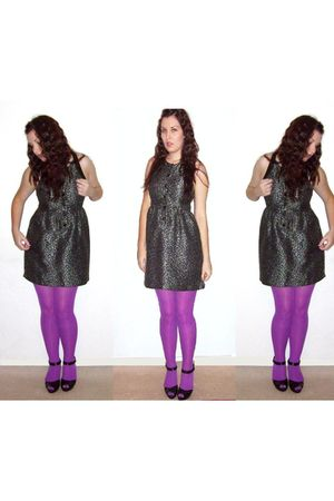 purple Miss Selfridges stockings - black forecast dress