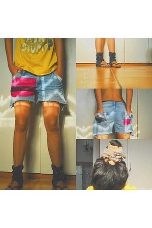 tawny dimianonna scarf - sky blue jeans lace mercato shorts