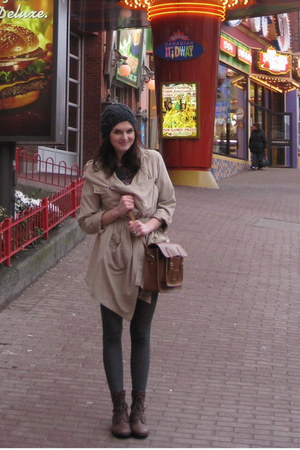 brown lace-ups Forever 21 boots - charcoal modcloth hat - BB Dakota jacket - lea
