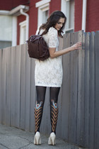 modcloth dress - modcloth tights - brown backpack modcloth bag - cream heels sey