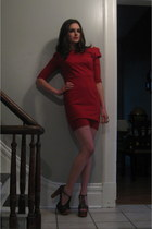 red BB Dakota dress - gray Jeffrey Campbell heels - gold modcloth ring