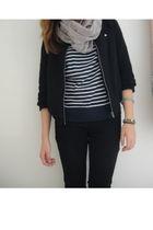 black ecote jacket - black Forever 21 jeans - beige Deena & Ozzy scarf - blue ab
