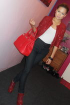 red Hermes - red Zara - black - white cotton on top