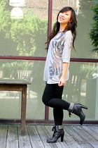 black Two Lips boots - gray Urban Outfitters sweater - black H&M leggings - silv