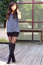 blue sloe top - black Urban Outfitters skirt - black Forever 21 boots - black st