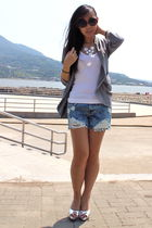 white t-shirt - gray Urban Outfitters blazer - blue Double Stitch shorts - silve
