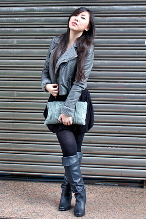 dark gray boots - heather gray Mini Market jacket - light blue air space purse -