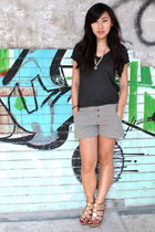 gray t-shirt - green Taiwanese brand shorts - gold Bakers shoes - gold Purr neck