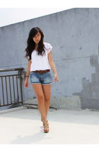 white korean brand blouse - brown H&M belt - blue Zara shorts - gold Bakers shoe