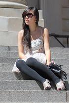 pink Millou dress - black H&M leggings - gray Marc by Marc Jacobs bag - beige sh