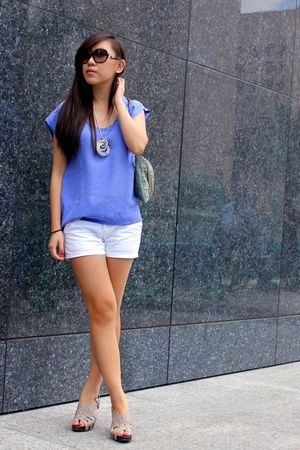 blue Urban Outfitters top - white Korean Name NONAME shorts - gray shoes - silve