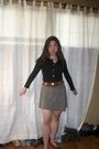 Green-skirt-brown-belt-black-cardigan-brown-necklace